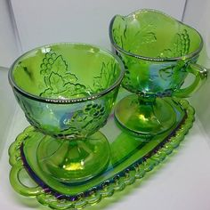 Green Carnival Glass Cream and Sugar Set, Carnival Glass Cream and Sugar Set, Green Harvest Grapes Carnival Glass, Cream and Sugar on Tray Sugar Bowls, Vintage Green Glass, Vintage Carnival, Tiffany Lamps, Indiana Glass, Fenton Glass, Cream And Sugar, Carnival Glass, Glass Collection