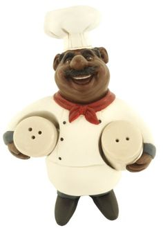 African American Fat Chef Kitchen Salt And Pepper Shakers Figure D64249 Table Art Http