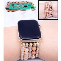 Beaded Apple Watch Bands – Ruby Rue Jewelry & Accessories Elegant Watches, Beautiful Watches, Striped Earrings, Cactus Earrings, Ring Watch, Rhinestone Earrings, Turquoise Pendant, Leather Earrings, Apple Watch Bands