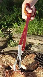 High quality, heavy duty, construction to last a lifetime!This design will lift heavy loads with minimal effort.Coated handles for maximum comfort.BBQ tongs are mm) longBarr Bros. Fun Cooking, Cooking Tools, Outdoor Cooking, Cooking Recipes, Bbq Grill, Barbecue, Scissors Design, Bbq Tongs, Bacon Sausage