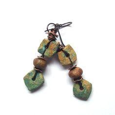 Rustic Ceramic Earrings, Earthy Turquoise & Copper Earrings, Wire Wrapped Bohemian Earrings, She Flies Again Boho Niobium Earrings
