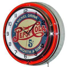 Pepsi-Cola Nickel Drink Double Neon Clock | Vintage Diner Clocks | RetroPlanet.com