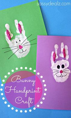 Bunny Rabbit Handprint Craft For Kids TO MAKE FOR holiday card to send to family. grandma and grandpa will love them #craftsforkidstomake
