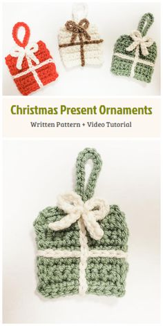 We are going to learn How to Crochet Free Christmas Present Ornament Patterns. This pattern works up quickly and is made up of just a few stitches. They are a fun and easy way to DIY home decor or decorate for Christmas on a budget. These ornaments also make for thoughtful gifts. Crochet Christmas Decorations, Christmas Ornaments To Make, Christmas Presents, Christmas Crafts, All Free Crochet, Learn To Crochet, Crochet Projects, Sewing Projects, Knitting Patterns