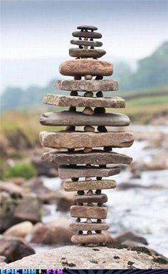 Feats Of Extreme Balance. An interesting garden focal point idea.