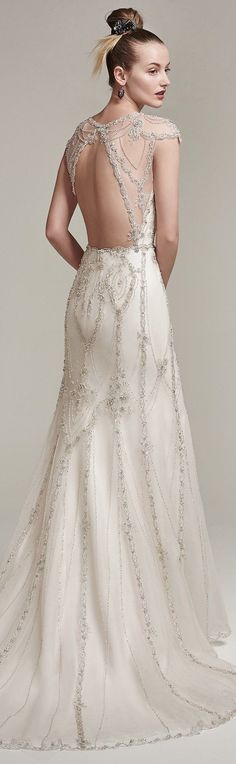 SYANNE by Sottero and Midgley Wedding Dresses Vintage inspired art deco wedding dress gown beaded sequins romantic Fringe Wedding Dress, Art Deco Wedding Dress, Vintage Style Wedding Dresses, Vintage Inspired Dresses, Designer Wedding Dresses, Bridal Dresses, Vintage Dresses, Wedding Gowns, Vintage Weddings