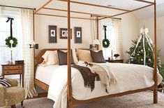 Your bedroom is a calming spot, so whatever decorations you choose should be simple and reflect the room's existing atmosphere. Here, a classically decorated Christmas tree and a simple window wreath echo this room's simplicity and traditional style. Cozy Bedroom, Master Bedroom, Bedroom Decor, Bedroom Ideas, Linen Bedroom, Christmas Bedroom, Christmas Tree, Christmas Ideas, Christmas Houses