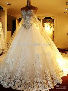 Wholesale Ball Gown Wedding Dresses - Buy Vintage Dazzling Crystals Strapless Ball Gown Lace Wedding Dresses Corset Back Luxury Cathedral Train Rhinestones Bridal Gowns, $389.0   DHgate