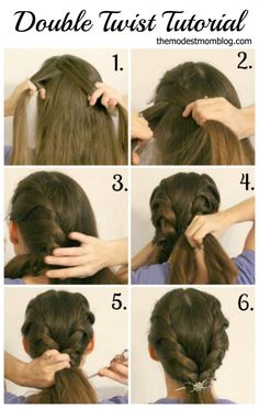 Double Twist Hairstyle Tutorial, plus a video showing how to do it. Super easy to do once you learn how!