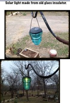 make solar lights with old insulators Best Picture For Solar light crafts videos Fo Insulator Lights, Glass Insulators, Electric Insulators, Solar Light Crafts, Solar Lights, Diy Solar, Garden Crafts, Garden Projects, Garden Ideas