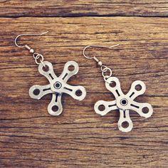 Snowflake Bike Chain Earrings - Bicycle Jewelry - Bike Gifts - Bicycle Earrings…
