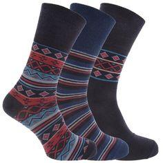 Mens Patterned Cotton Rich Non Elastic Socks (Pack Of Socks, Pattern, Cotton, Men, Accessories, Fashion, Moda, Fashion Styles, Patterns