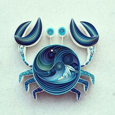 blaue Krabbe aus Quilling
