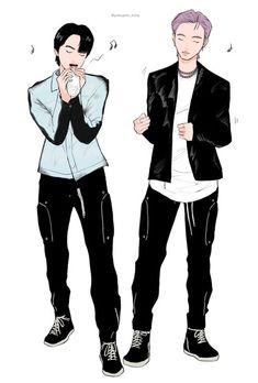 Namjin, Boyxboy, Bts Chibi, Seokjin, Taehyung, Fan Art, Billie Eilish, Fictional Characters, Watercolor Art