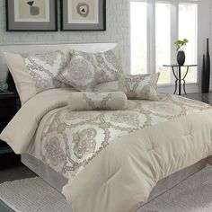 Lavish Home Sofia Queen Size 7 Piece Jacquard Comforter Set - Bedding - For the Home Comforter Sets, Master Bedroom, Bedroom Decor, Bedroom Ideas, Pottery Barn Teen Bedding, Always Kiss Me Goodnight, Decorative Cushions, Room Set, Yurts