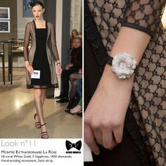 Seen at #JLCandAlexisMabille fashion show: Montre Extraordinaire La Rose #watch. Technical details: 118-carat White Gold, 5 Sapphires, 1400 diamonds, Hand-winding movement, Satin strap. Reference: 4803402