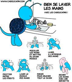 un pictogramme pour expliquer aux enfants comment bien se laver les mains…
