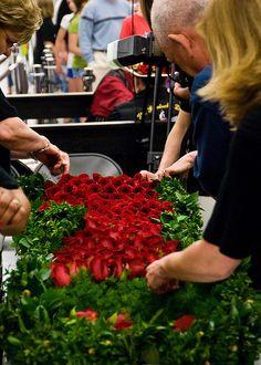 Kroger's, Middletown, KY staff making The Blanket of Roses for the Derby winner.