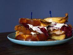 chicken schnitzel sandwich with horseradish cream