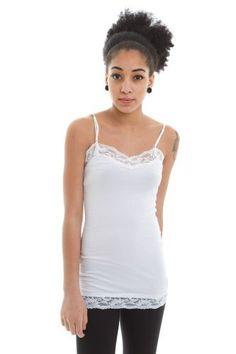 d81a5e04a3 Zenana Womens Lace Trim Tank Top White Large  gt  gt  gt  Check out