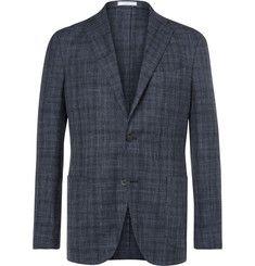BoglioliBlue K-Jacket Slim-Fit Prince of Wales Check Wool, Silk and Linen-Blend Blazer