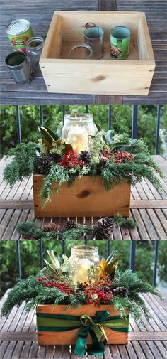 DIY Christmas table decorations centerpiece for almost free! Easy tutorial & video on how to make a beautiful Christmas centerpiece as decor & gifts in 10 minutes! A Piece of Rainbow homedecor ideas christmas crafts christmas decorations farmhouse decor Christmas Planters, Christmas Table Decorations, Outdoor Christmas, Rustic Christmas, Outdoor Decorations, Scandinavian Christmas, Coastal Christmas, Diy Christmas Arrangements, Christmas Dinner Tables