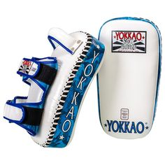 The latest YOKKAO Curved Blue ARMY Kicking Pads now available! 5 kinds of foam, arm absorption, premium quality leather, approved by best Muay Thai Camps. Martial Arts Equipment, Blue Army, Muay Thai, Boxing, Kicks, Leather, Martial Arts Gear, Brass Knuckles