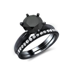 If i ever get hitched. I want THIISS Black Round Diamond Engagement Ring Bridal Set Black Gold / Front Jewelers Bridal Rings, Wedding Rings, Wedding Band, Women's Accessories, Non Plus Ultra, Round Diamond Engagement Rings, Engagement Bands, Solitaire Engagement, Black Gold Jewelry