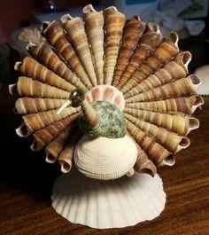 Turkey made from seashells figurine. Seashell Painting, Seashell Art, Seashell Crafts, Sea Crafts, Crafts To Make, Shell Animals, Seashell Projects, Shell Decorations, Shell Ornaments