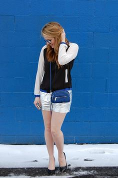 Silky bomber + metallic shorts | Little Daily Reflections