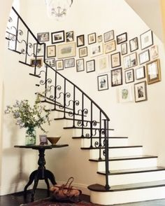 This looks awesome. Trying something similar on our stairway wall. I like how they mixed up the frames.