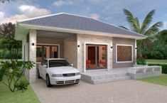 Simple House Design Plans with 3 Bedrooms Full Plans - House Plans Best Home Interior Design, Home Design Plans, Simple House Design, Modern House Design, Modern Houses, Small House Plans, House Floor Plans, Small Villa, Bungalow House Design