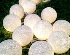 20 White Cotton Ball Fairy Lights Wedding Table Runner Party Event Battery power