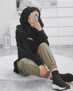 Image may contain: one or more people, people sitting, shoes, phone, closeup and indoor Modern Hijab Fashion, Street Hijab Fashion, Hijab Fashion Inspiration, Fashion Mode, Muslim Fashion, Mode Inspiration, Style Fashion, Emo Fashion, Fashion Ideas