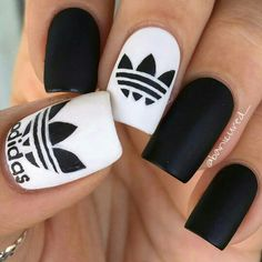 Luvvv!! Addidas nails by #Banicure #instagram Follow me for more great nail art pics&ideas www.instagram.com/luvnailsnicole/