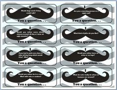 "I ""mustache"" you a question. . . fun game for Lunch Bunch."