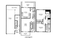 Naval Complex San Diego – Howard Gilmore Terrace Neighborhood: 2 bedroom 1.5 bath townhome floor plan.