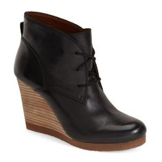 "Lucky Brand 'Taheeti' Wedge Bootie , 3 1/2"" heel (280 PEN) ❤ liked on Polyvore featuring shoes, boots, ankle booties, becca matthews, ankle boots, black leather, black wedge bootie, lace-up wedge booties, black lace up booties and black platform booties"