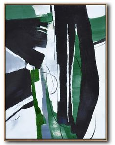 CZ Art Design - Hand painted oversized dark green contemporary painting on canvas, Vertical original fine art #XB123B
