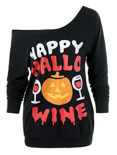 $14.13 Halloween Pumpkin Lamp Skew Neck T-Shirt