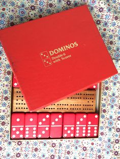 Dominos, Double six with scorer, vintage game, Samuel Ward Co, Dice games, tile games, vintage games, red dominos, vintage dominos by TwoSwansSwimming on Etsy