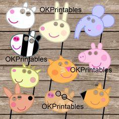 Peppa Pig y amigos partido Photo Booth Props / por OKprintables