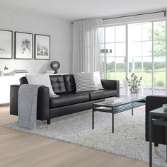 Decor your home with MORABO Sofa, Grann/Bomstad black. The supporting seat cushions, the cover's soft finish and the tight fit gives this sofa a perfect balance between its comfort, functions and look. Black Couches, Black Leather Sofas, Black Sofa Living Room Decor, Black Leather Sofa Living Room, Black Couch Decor, Style Salon, Ikea Family, Sofa Frame, Large Sofa