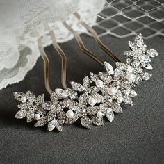 BEDELIA, Bridal Hair Comb, Crystal Flower Bridal Wedding Hair Accessories, Rhinestone and Pearl Wedding Hair Comb, Old Hollywood Style