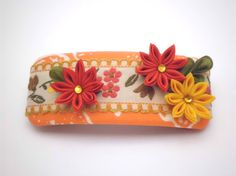Orange Yellow flower Hair Barrette Flower FRENCH by JagataraArt #redflowers #frenchbarrette #hairclip #tsumamikanzashi #mothersday #craftshout