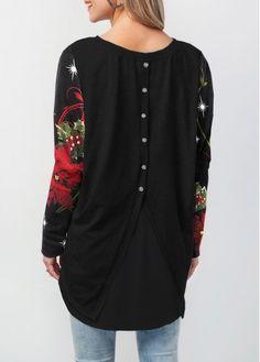 13fc9bd6435e9c Christmas Button Back Printed Long Sleeve Black T Shirt