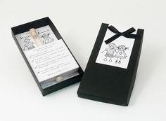 PELOPINCHOS ELEGANTE  Invitación en caja negra con tubo de arroz