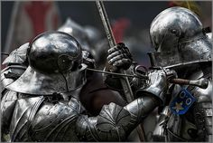 Two knights in late 15th century armor. Reproduction