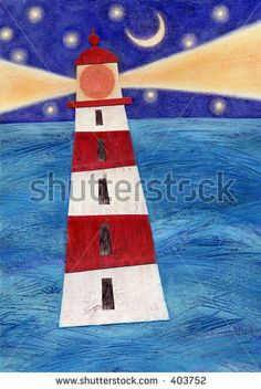 Mixed media collage of a lighthouse; an original artwork by the artist. by Kathleen Good, via Shutterstock