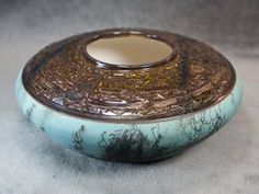 Horse Hair Wide Copper-Teal Bowl